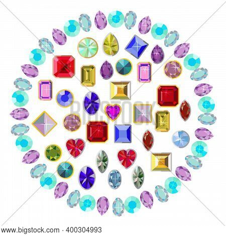 Precious Stones, Multi-colored, Scattered In A Circle. Set Of Precious Stones. Illustration.