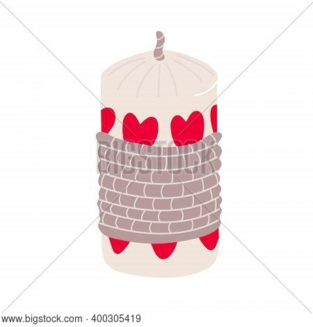 Cute Hand Drawn Candle Decorated With Hearts And Twine Rope. Valentine's Day Decoration. Vector Illu