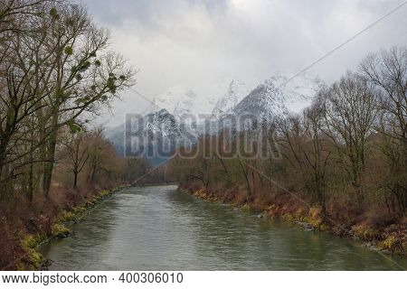 Winter Landscape With Snow Covered Grimming Mountain And Enns River In Ennstal, Steiermark, Austria