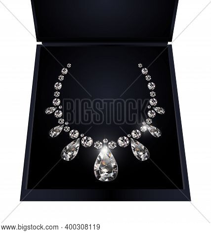 Black Background And Light Jewel Diamond Necklace In The Box