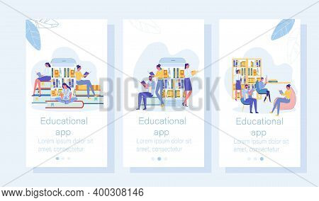 Educational Application Mobile Onboard Screen Set. Vocabulary, Dictionary And Encyclopedia Library A