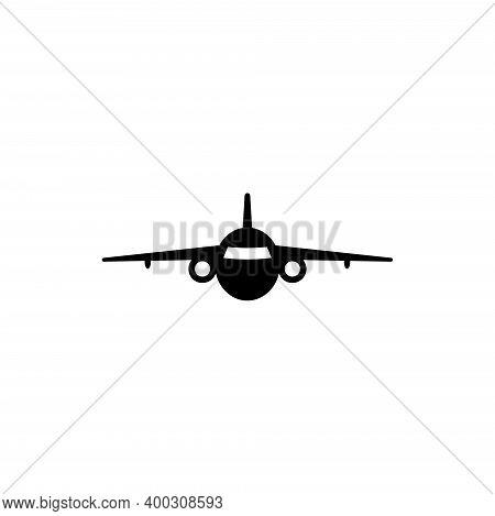 Turbine Jet Plane, Airplane Silhouette. Flat Vector Icon Illustration. Simple Black Symbol On White