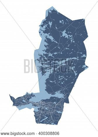 Tampere Map. Detailed Vector Map Of Tampere City Administrative Area. Cityscape Poster Metropolitan
