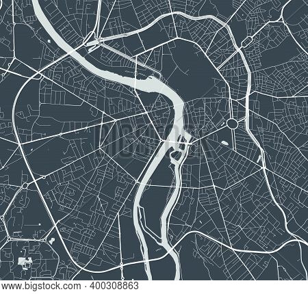 Urban City Map Of Toulouse. Vector Illustration, Toulouse Map Grayscale Art Poster. Street Map Image