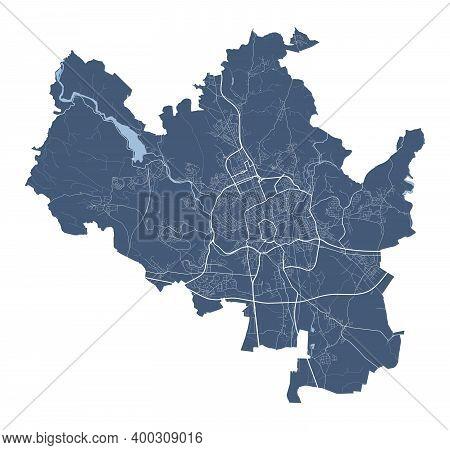Brno Map. Detailed Vector Map Of Brno City Administrative Area. Cityscape Poster Metropolitan Aria V