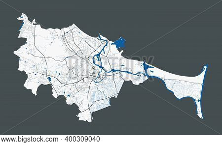 Gdansk Map. Detailed Map Of Gdansk City Administrative Area. Cityscape Panorama. Royalty Free Vector