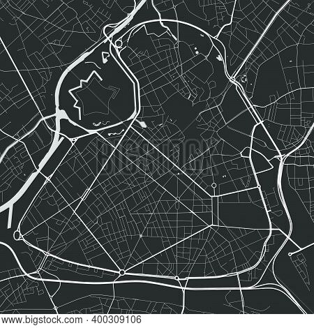 Urban City Map Of Lille. Vector Illustration, Lille Map Grayscale Art Poster. Street Map Image With