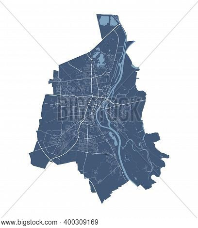 Magdeburg Map. Detailed Vector Map Of Magdeburg City Administrative Area. Cityscape Poster Metropoli