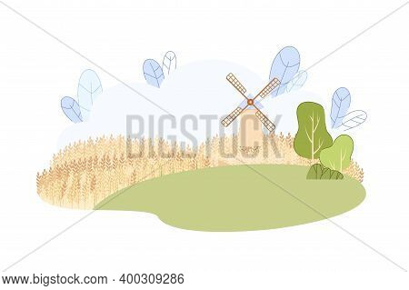 Countryside Landscape With Traditional Windmill On Hill Vector Illustration. Summer Rural Scenery Vi