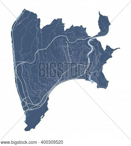 Nice Map. Detailed Vector Map Of Nice City Administrative Area. Cityscape Poster Metropolitan Aria V
