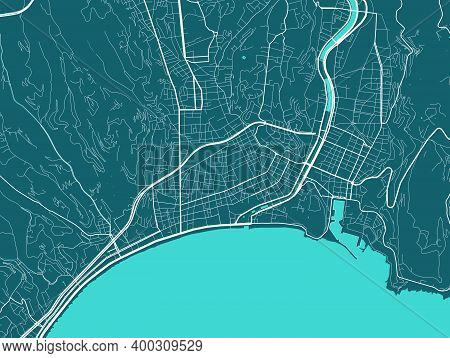Detailed Map Of Nice City Administrative Area. Royalty Free Vector Illustration. Cityscape Panorama.