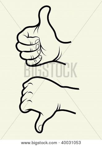 Hand signs (like, unlike)