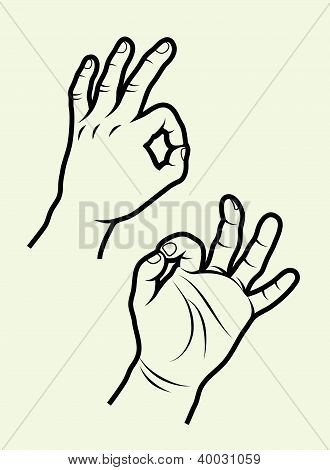 Ok hand signs vector