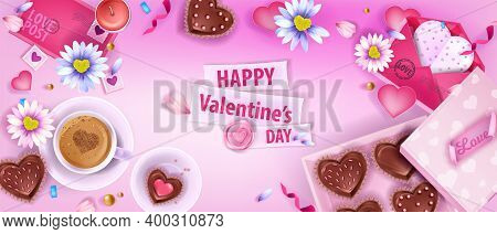 Happy Valentine's Day Love Vector Flat Lay Background With Chamomile, Envelopes, Coffee Cup, Cookies