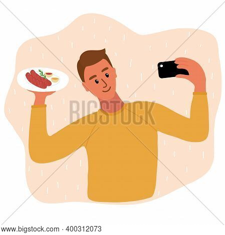 Caucasian Man Food Blogger Making Photo Selfie With With Two Sausages And Mustard And Ketchup Sauces