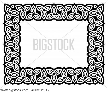 Irish Celtic Vector Frame Design, Irish Traditional Ractangle Border Perfect For Greeting Card Or In
