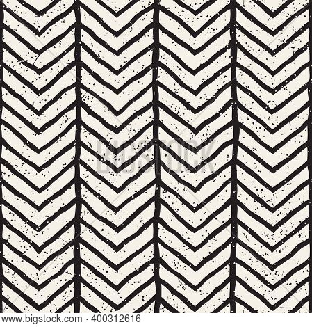 Hand-drawn Lines Geometric Seamless Pattern. Monochrome Black And White Ink Strokes. Abstract Vector