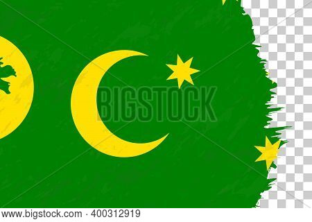 Horizontal Abstract Grunge Brushed Flag Of Cocos Islands On Transparent Grid. Vector Template.