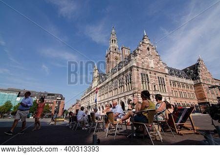 Leuven, Belgium, August 2019. Three-quarter View Of The Impressive University Library, In Flemish Re