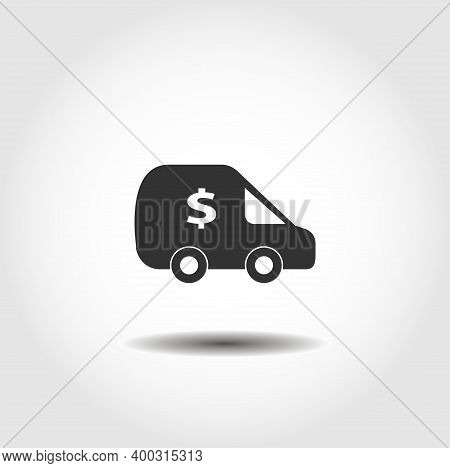 Cash Transit, Bank Van Isolated Vector Icon. Business Design Element