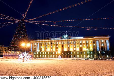 Veliky Novgorod, Russia. Winter Night Landscape Of Veliky Novgorod, Russia, Central City Square With
