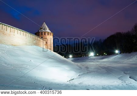 Winter Night Landscape - Veliky Novgorod, Russia. Veliky Novgorod Kremlin Fortress In Winter Night.