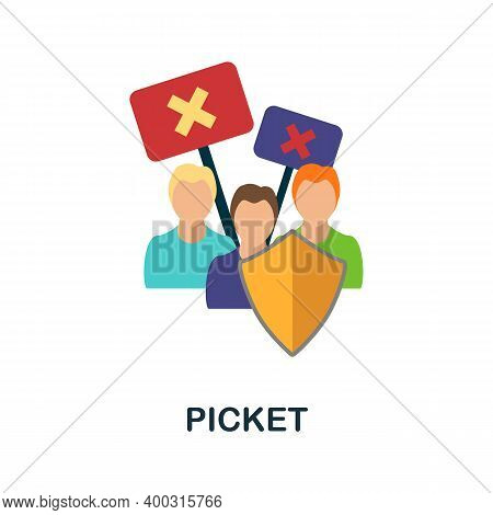 Picket Flat Icon. Color Simple Element From Activism Collection. Creative Picket Icon For Web Design