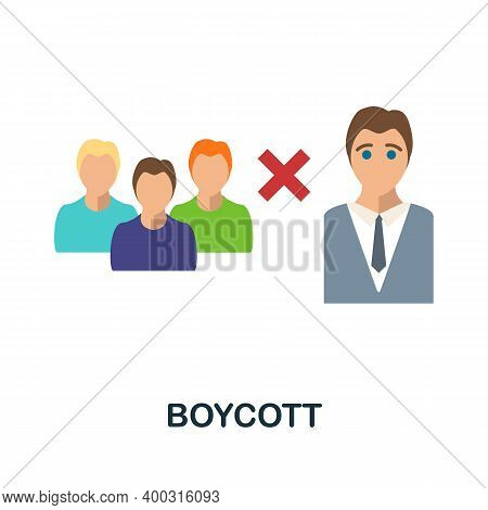 Boycott Flat Icon. Color Simple Element From Activism Collection. Creative Boycott Icon For Web Desi