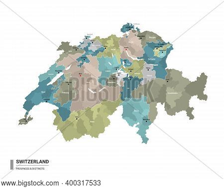 Switzerland Higt Detailed Map With Subdivisions. Administrative Map Of Switzerland With Districts An