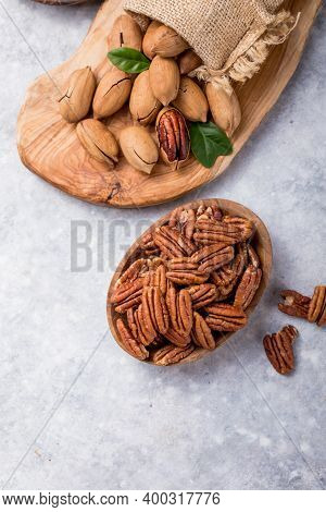 Pecan. Pecan Nut In A Shell. Pecans Are Rich In Various Trace Elements And Vitamins. Pecans Are Rich