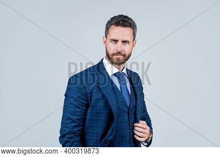 Successful Mature Unshaven Man With Bristle. Handsome Businessman Grooming. Male Modern Fashion. Off