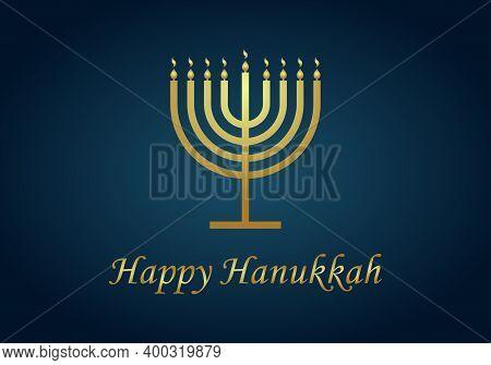 Happy Hanukkah. Gold Menorah Of Hanuka On Blue Background. Jewish Chanukah With Menora, Candles And