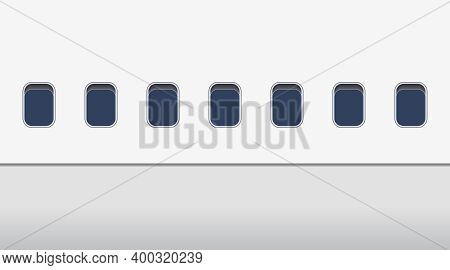 Windows Of Airplane Outside. Exterior Of Plane In Flight. View On Windows Of Aircraft. Mockup Of Air