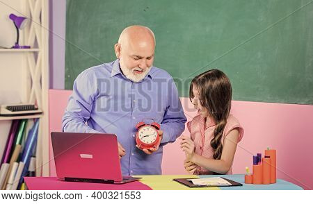 Discipline And Time Concept. Break Alarm. Morning. Time To Study. School Lesson Online. Teacher Help