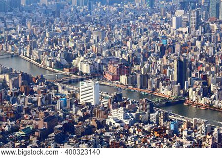 Tokyo, Japan - November 30, 2016: Aerial View Of Sumida And Taito Wards In Tokyo, Japan. Tokyo Is Th