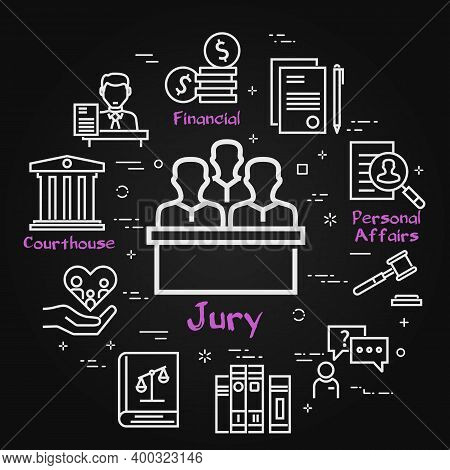 Vector Black Line Banner Of Legal Proceedings - Jury Group Icon