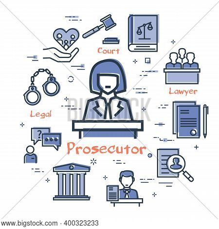 Vector Line Banner Of Legal Proceedings - Prosecutor Icon