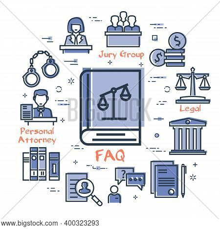 Vector Line Banner Of Legal Proceedings - Faq Book Icon