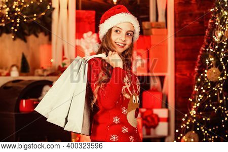 Santa Helper Carry Xmas Presents. Holiday Gift Shopping. Its Christmas Time. New Year Is Coming. Kid