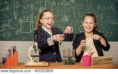 Chemistry Research. Biology Lesson. Little Girls In School Lab. Chemistry Education. Science Experim
