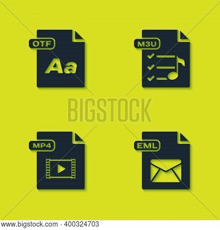 Set Otf File Document, Eml, Mp4 And M3u Icon. Vector