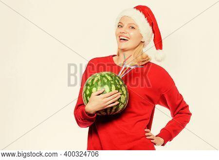 Woman Enjoy Vitamin Drink. Detox After Christmas. Rich Vitamin Ration Concept. How Detox After Chris