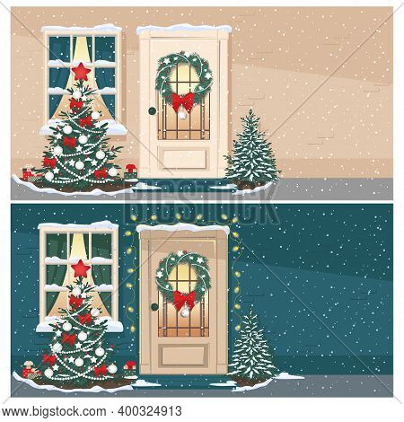 Christmas Doors And Windows With Fir Tree And Christmas Decorations. Christmas Backgrounds Set. Merr