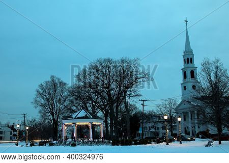 NORWALK, CT, USA - DECEMBER 19, 2020:  Gazebo On The Green with First Congregational Church between Park Street and East avenue.