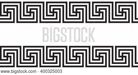 Seamless Greek Ornament Black And White Decoration