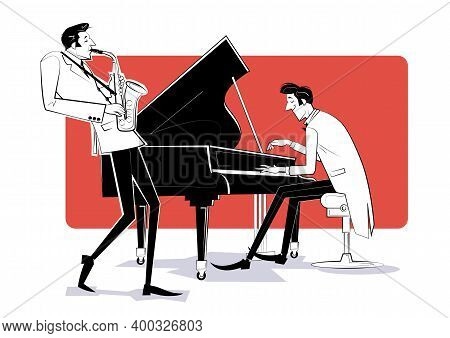 Vector Illustration Of A Jazz Band With Piano And Sahophon