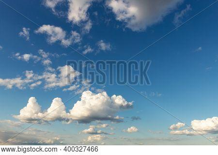 Weird Unusual Animal Silhouette Fantasy Dream Cloudscape On Beautiful Evening Blue Sky Background. F