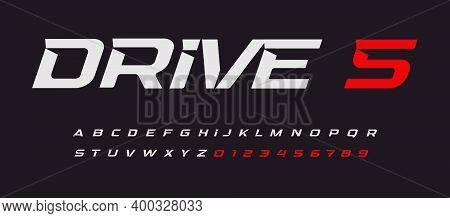 Drive Italic Alphabet. Car Race Vector Letters In Modern Sport Style. Stunning Font With Inside Spur