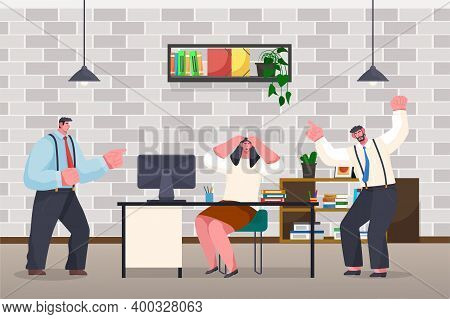 Businessmen Experiencing Stress At Work Because Of The Deadline And Office Chaos. Annoyed Angry Male