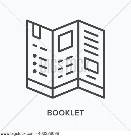Brochure Flat Line Icon. Vector Outline Illustration Of Booklet With Advertising. Flyer Leaflet Desi